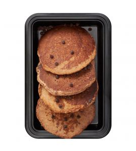 Chocolate Chip Banana Protein Pancakes: A stack of protein-packed banana pancakes, laced with semi-sweet chocolate chips.