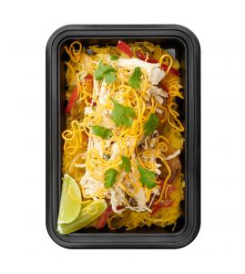 Green Chicken Enchilada Bowl: Slow-cooked shredded chicken tossed in our signature salsa verde, served over spaghetti squash with sautéed peppers, onions and organic corn, topped with cheddar cheese.
