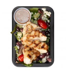 Mediterranean Salad: Grilled lemon-herb chicken (substitute mahi or shrimp for $2) served over mixed greens with tomato, cucumber, red onion, olives & feta cheese, served with a side of balsamic vinaigrette.