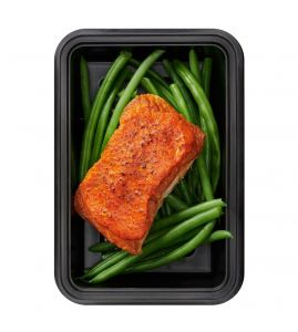 Red Pepper Salmon: Roasted salmon glazed with homemade red pepper coulis served with a side of green beans.
