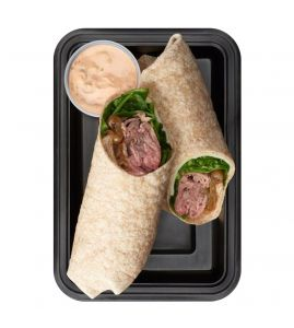 """Roast Beef Wrap: This wrap is packed with lean protein! Slow-roasted, thinly-sliced top round, provolone cheese, caramelized onions and spinach in a whole wheat wrap, served with a side of our """"secret"""" Big BRO sauce."""