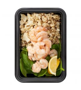 Skinny Shrimp: Simply seasoned shrimp served over baby spinach and our signature roasted garlic cauliflower rice.