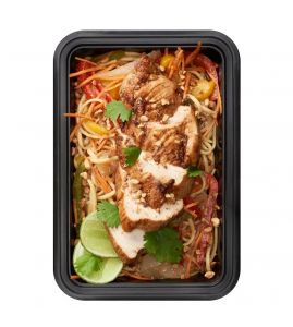 Thai Peanut Noodles: Organic noodlestossed with crisp Asian vegetables & homemade peanut sauce topped with grilled cajunchicken breast.