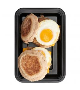 Turkey Sausage Breakfast BRO Sammy: Two whole wheat english muffins topped with a cage-free egg, homemade turkey breakfast sausage and all-natural cheddar cheese.