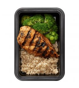 Basics with Broccoli: Grilled chipotle chicken and brown rice, served with a side of plain broccoli.