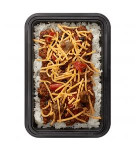 Beef & Bean Chili: Chef John's homemade beef & bean chili topped with shredded cheddar cheese, served over white rice.