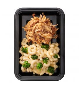 Gluten-Free Crack: Pulled chicken tossed in our famous BRO-BQ sauce served with reduced-fat gluten-free broccoli mac & cheese.