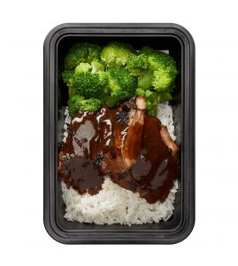General Bro's Chicken: Juicy grilled chicken thighs covered in our homemade sweet and spicy Asian glaze served with a side of steamed jasmine white rice and broccoli.