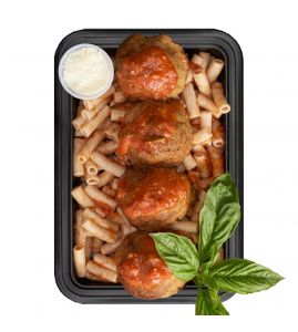 Gina's Eggplant Meatballs: Handmade eggplant meatballs over gluten-free brown rice penne pasta topped with homemade reduced-fat vodka sauce.