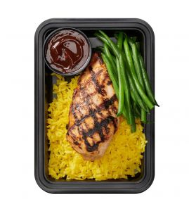 Basics Elite: A simply seasoned, tender grilled chicken breast served over homemade Spanish saffron rice, with a side of steamed green beans and our famous BRO-BQ sauce.