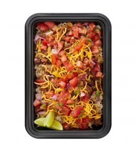 Chuck's Turkey Taco Bowl: Lean ground turkey and organic black beans slow-simmered with peppers and onions in our secret Mexican spice blend, served over steamed brown rice, topped with shredded cheddar cheese and homemade pico de gallo.
