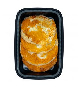 Apple Cinnamon Protein Pancakes: A stack of four of our homemade protein-packed apple cinnamon pancakes.