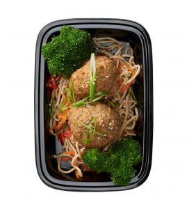 Asian Beef Meatballs: Savory and delicious all-natural beef meatballs seasoned with garlic, ginger and soy sauce, served over stir-fried soba noodles with a side of steamed broccoli.