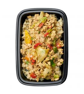 Dirty Boy 2.0: Lean all-natural ground turkey sautéed with peppers & onions served over garlic-herb cauliflower rice.