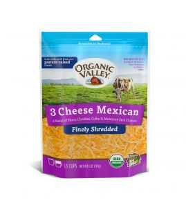 Organic Valley Finely Shredded 3 Cheese Mexican 6 oz