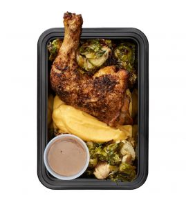 Fall Harvest Chicken: A perfectly roasted, herb-rubbed, antibiotic-free half chicken, served with delicious butternut squash purée, roasted Brussels sprouts and a side of our famous homemade gravy.
