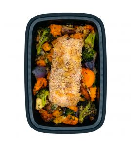 Maple Walnut Salmon: A fresh filet of salmon coated with all-natural maple syrup and crushed walnuts served over a blend of roasted seasonal vegetables.