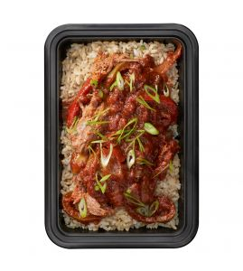 Ropa Vieja: Tender braised beef, slow-simmered in a flavor-packed tomato sauce with onions, peppers and spices, served over steamed brown rice.
