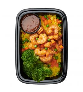 The Jamie G: Our signature spiced shrimp served over saffron-infused rice pilaf with a side of steamed broccoli and our homemade sweet Thai peanut sauce.