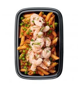 Shrimp Penne Vodka: Succulent shrimp served over gluten-free penne pasta tossed with sweet green peas and a creamy reduced-fat vodka sauce.