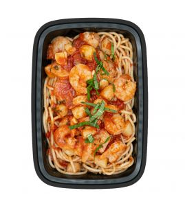 Shrimp & Scallop Fra Diavolo: Fresh scallops and juicy shrimp in our spicy homemade fra diavolo tomato sauce, served over organic spaghetti.