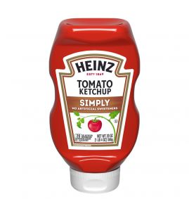 Simply Heinz Ketchup: Simply Heinz™ is made from the basics: red ripe tomatoes, vinegar, sugar, salt, and a special blend of spices and flavorings. No GMO ingredients, no high-fructose corn syrup, and 100% Heinz taste.