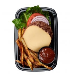 Smokehouse Gouda Burger: A juicy all-natural grass-fed burger patty topped with smoked gouda cheese over crisp romaine lettuce, sliced red onion and fresh tomato, served with hand-cut fries and a side of our homemade spicy bbq sauce.