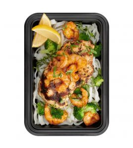 The Situation: A combo of our classic grilled lemon-herb chicken and cajun shrimp, served with perfectly steamed broccoli over protein noodles tossed with a lemony reduced-fat francaise sauce.