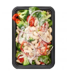 White Bean & Broccoli Salad: Creamy white beans, crunchy broccoli and sweet roasted red peppers, tossed with fresh spinach and topped with grated parmesan cheese, served with a side of Italian vinaigrette.