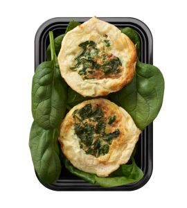 Egg White, Spinach & Roasted Red Pepper Fritatta: Egg whites mixed with spinach, onions, roasted red peppers and romano cheese, then baked to perfection.