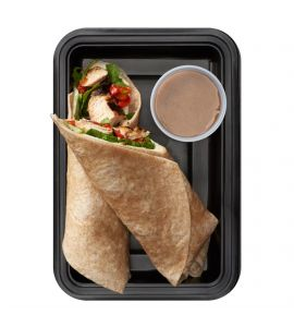 Grilled Chicken Wrap: Grilled chicken breast, roasted red peppers, mozzarella cheese and arugula in a whole wheat wrap served with a side of homemade balsamic vinaigrette.