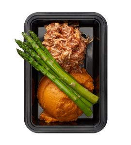 Honey BBQ Chicken: Shredded honey BBQ chicken breast with mashed sweet potatoes and asparagus.