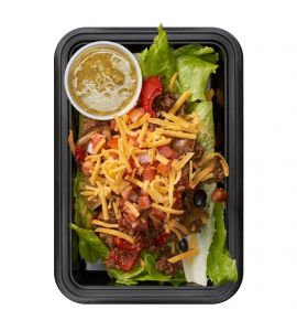 Taco Salad: Ground turkey taco mix (substitute grilled chicken or shrimp for $2) over romaine lettuce, topped with pico de gallo, black beans and cheddar cheese, served with a side of salsa verde.