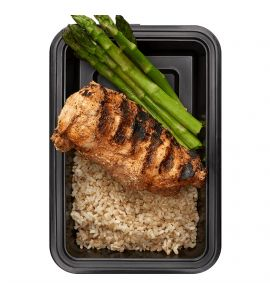 Basics with Asparagus: Grilled chipotle chicken and brown rice, served with a side of plain asparagus.