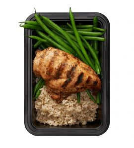 Basics with Green Beans: Grilled chipotle chicken and brown rice, served with a side of plain string beans.