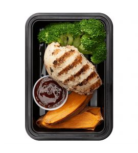 Bro Science: Grilled lemon-herb chicken breast, sliced roasted sweet potato and steamed broccoli served with a side of BRO-BQ sauce.