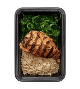 Basics with Spinach: Grilled chipotle chicken and brown rice, served with a side of plain spinach.
