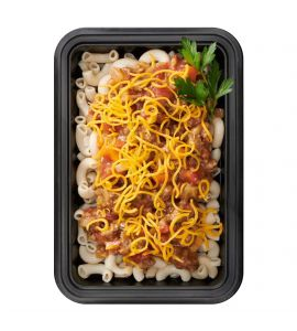 BRO-Burger Helper: Lean ground beef sautéed with carrots, celery and onions, slow-simmered in a robust tomato sauce, served over gluten-free macaroni and topped with shredded cheddar cheese.