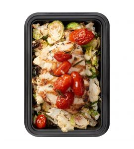 Low Carbs Bro: Grilled lemon-herb chicken breast served with roasted cauliflower, brussels sprouts & grape tomatoes.
