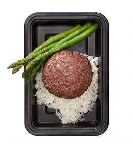 Grass-Fed Post Workout: A lean grass-fed beef patty served with a side of white rice and steamed asparagus.