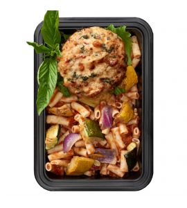 Old-School Italian Chicken Burger: Our homemade patty blend of fresh ground chicken, onion, spinach, roasted red pepper and mozzarella, served with gluten-free Italian pasta primavera salad.