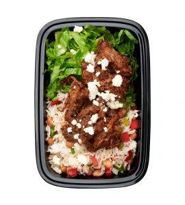 Beef Mole: Tender slow-braised beef in a mouthwatering mole sauce, topped with fresh cotija cheese, served with crisp shredded romaine lettuce and white rice tossed with sautéed peppers, onions and pinto beans.