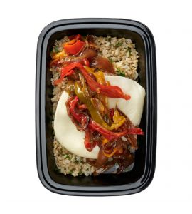 Cheesesteak Burger: An all-natural grass-fed beef burger patty topped with sliced provolone cheese and sautéed peppers & onions served over herb-infused brown rice.