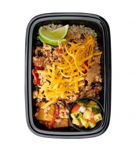 Chicken Tex-Mex Bowl: Seasoned ground chicken sautéed with diced bell peppers, onions, tomatoes and black beans over steamed brown rice, topped with shredded cheddar cheese and served with a side of fresh pineapple salsa.