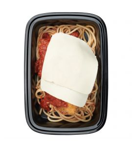 Chicken Parm: An all-natural chicken breast coated with gluten-free breadcrumbs and baked to perfection, topped with our fresh plum tomato marinara and mozzarella cheese,served over organic spaghetti.
