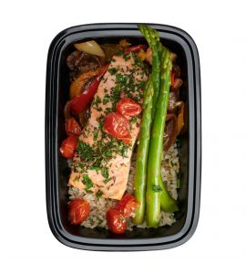 Fully-Loaded Salmon: Herb-rubbed salmon served over brown rice with sautéed peppers and onions, roasted mushrooms, grape tomatoes and asparagus.