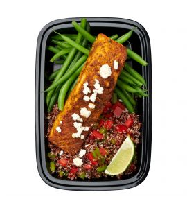 Tex Mex Salmon: A slow-roasted cajun-crusted filet of salmon sprinkled with cotija cheese crumbles and served over a classic combo of rice and black beans, plus sweet corn and juicy grape tomatoes with a side of fresh homemade pineapple salsa.